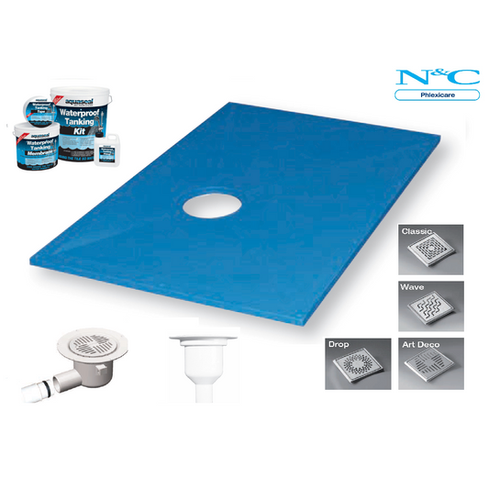 Wetroom shower tray kits wet room shower trays for Wet room shower tray for vinyl