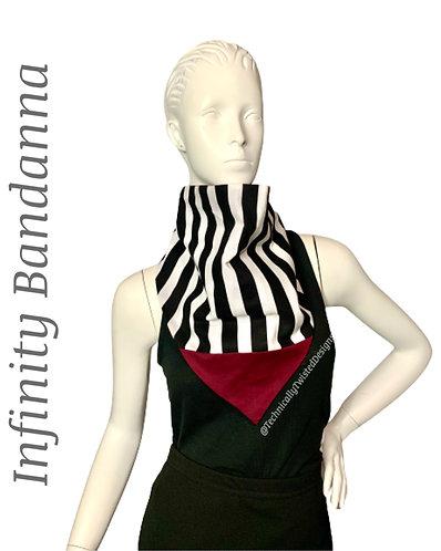 Infinity Bandanna - Blk & Wht Stripe/ Burgundy