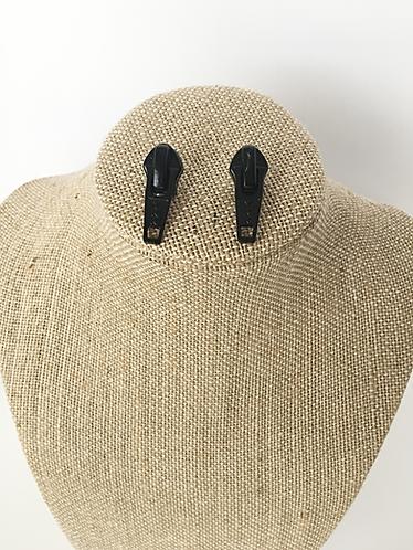 Black Zipper Earring Studs