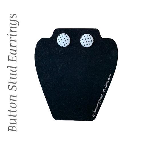 Button Studs - Off Wht/ Blk Polka Dot