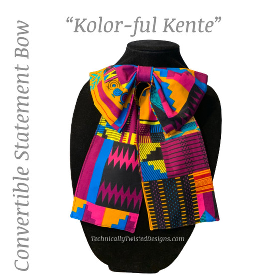 """KOLOR-FUL KENTE"" Convertible Statement Bow"