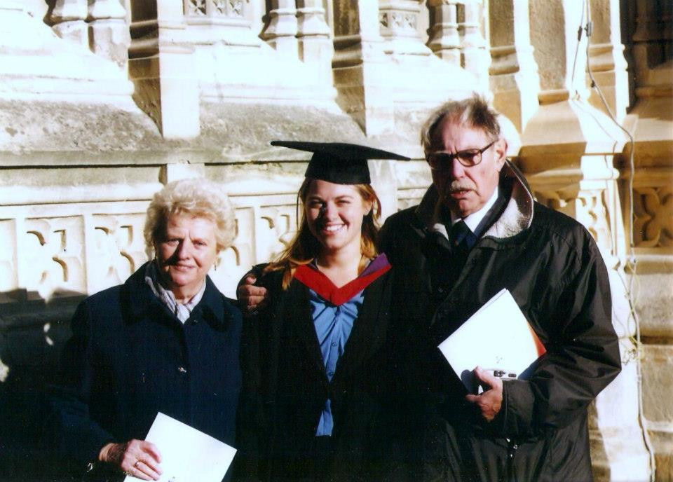 Me with my Grandparents (both teachers) when I graduated from university for the first time!
