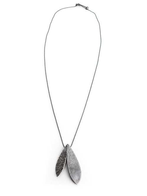 Folded Double Feather Necklace