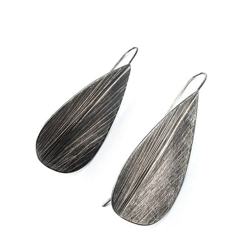 Large Textured Rain Drop Earrings