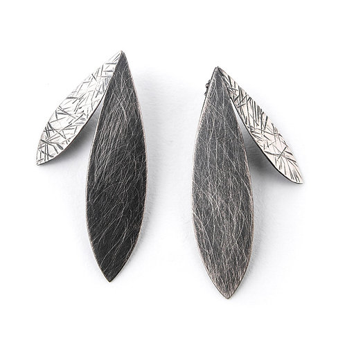 Large Double Feather Earrings