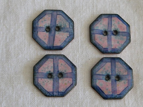 Ribbon Octo Enamelled Buttons...Set of 4...24mm