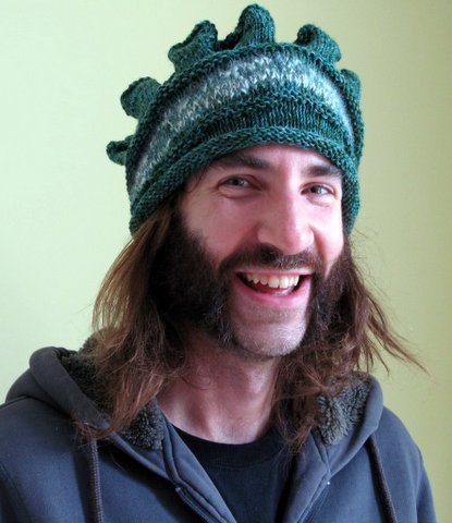 King's Crown Hat...Pure wool...knitted hat with angora accents.