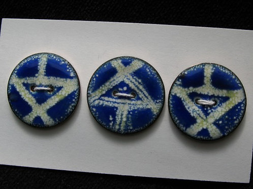 "Blue Geos...1""...set of 6...enamelled buttons"
