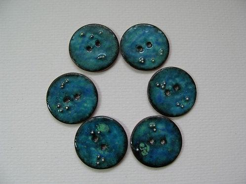 Ocean Bubble... enamelled 24mm buttons. Set of 6