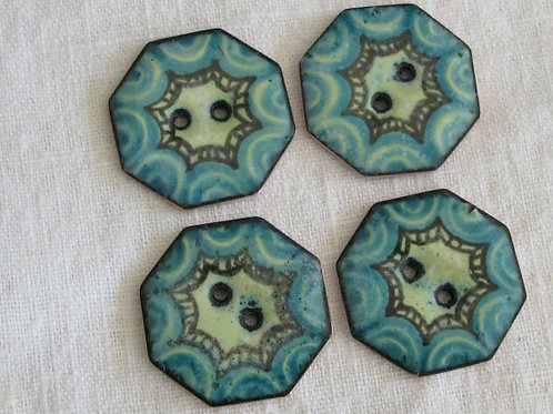 Turquoise Octo Buttons...24mm...set of 4