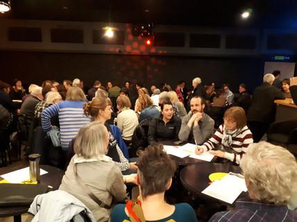 Facilitation d'une soirée conférence collaborative avec Dominic Champagne