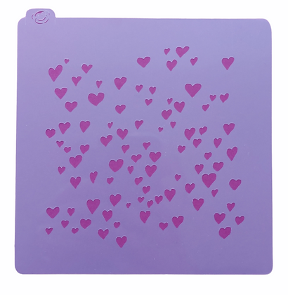 Random Hearts Stencil - for cookies, cakes, art projects