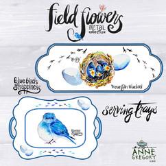 Field Flowers - Bluebirds of Happiness Metal Serving Trays