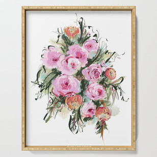 Romantic Rose Bouquet Serving Tray