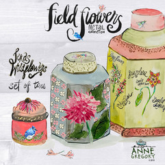 Field Flowers Collection - Texas Wildflowers Set of Metal Tins