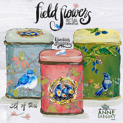 Field Flowers Collection - Bluebirds of Happiness Set of Metal Tins