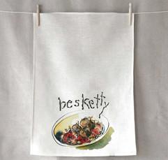 "Fun ""Besketty"" tea towel design by Anne Gregory"