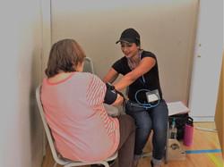 Silvia taking blood pressure @ Cascade Locks