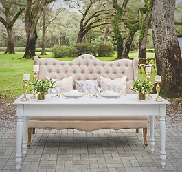 White Sweetheart Table & Banquette Bench