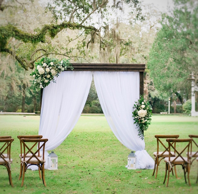 Dark Wood Arbor with Draping