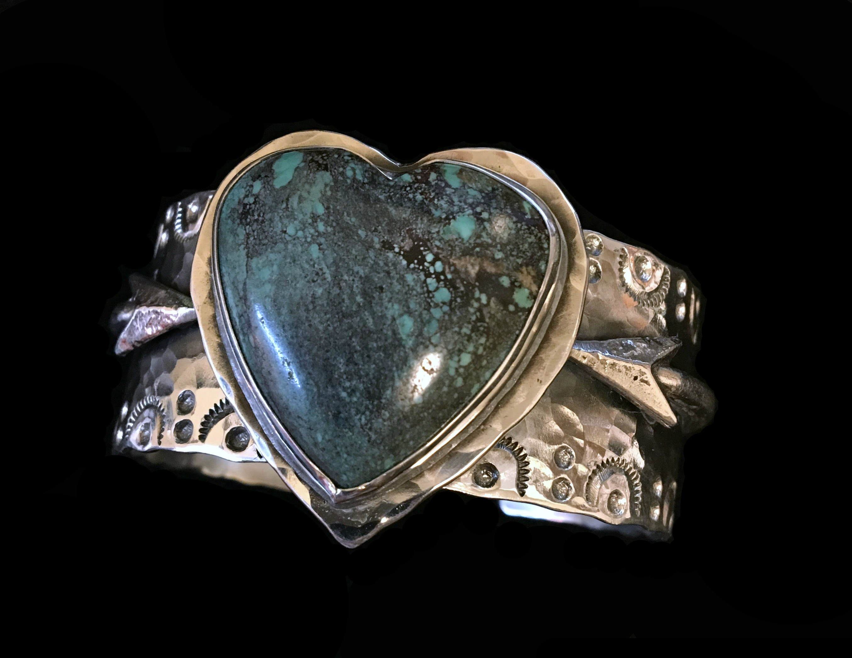 Turquoise Heart Cuff