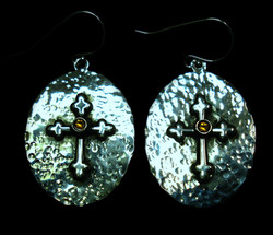 Cross and Citrine Round Earrings