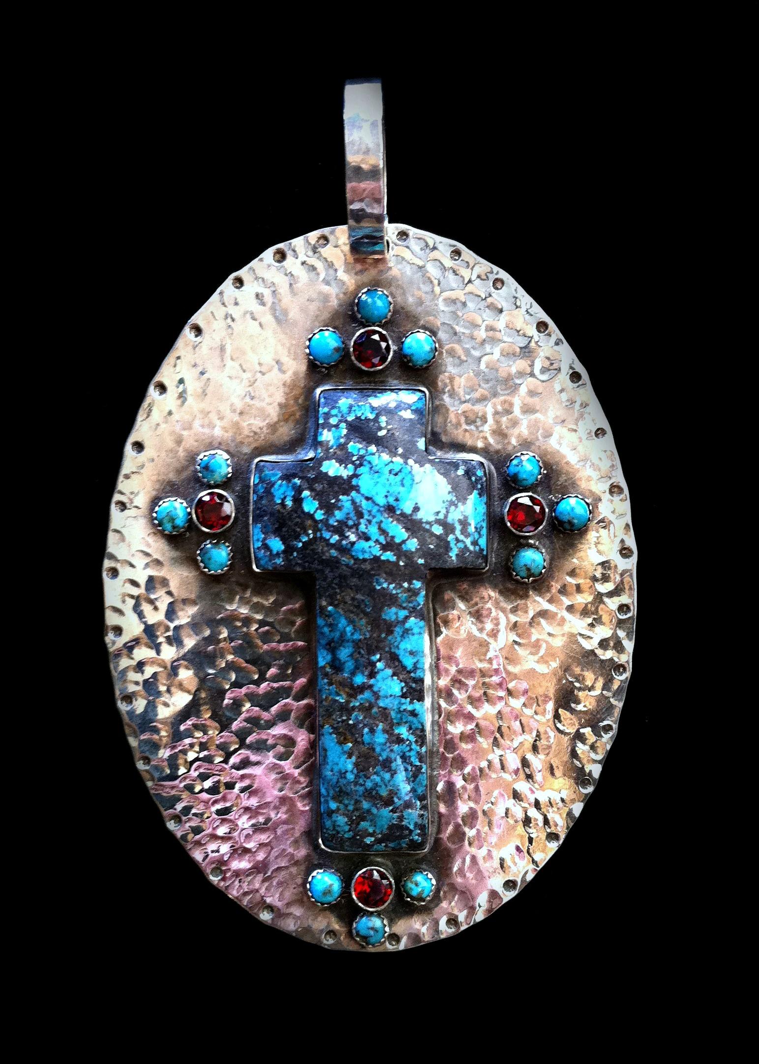 Turquoise Cross Disc Pendant