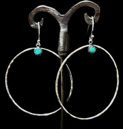 Fine Turquoise Hoop Earrings