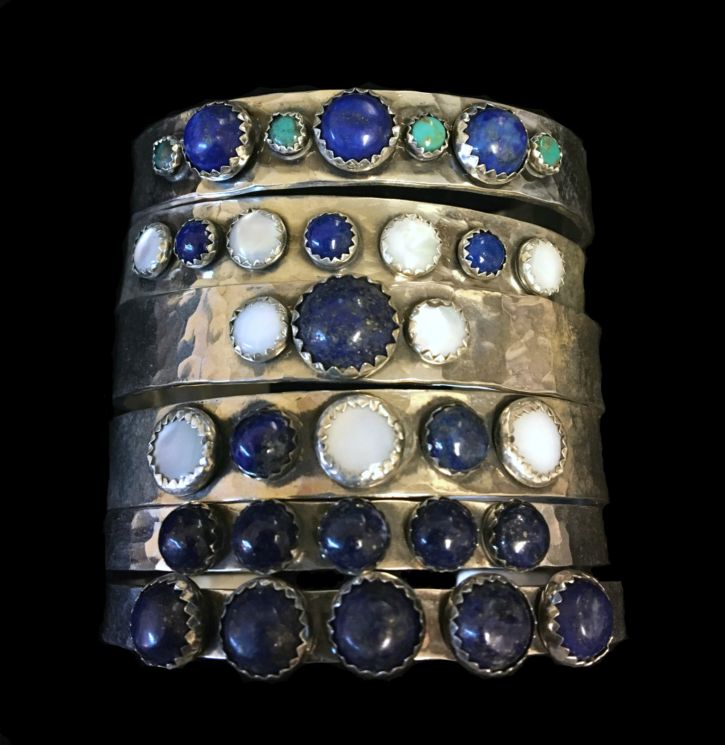 Lapis Stack Cuffs