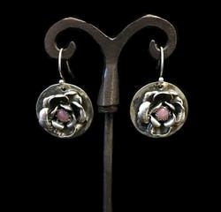 Rhodochrosite Flower Earrings