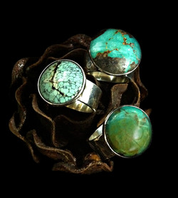 Button Turquoise Rings