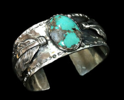 Turquoise Feathers Cuff