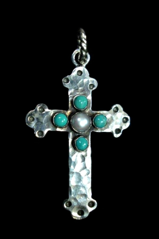 Turquoise and Pearl Cross