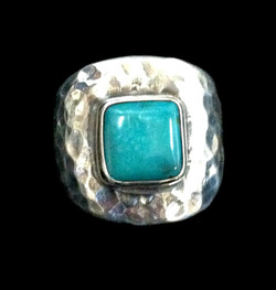 Square Turquoise Wide Ring