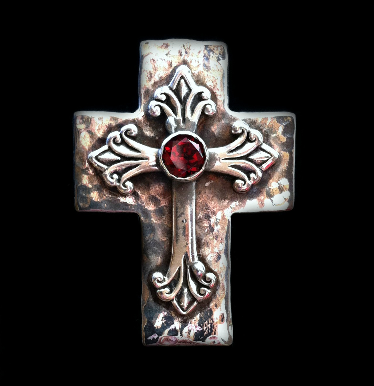 Cross and Garnet Ring