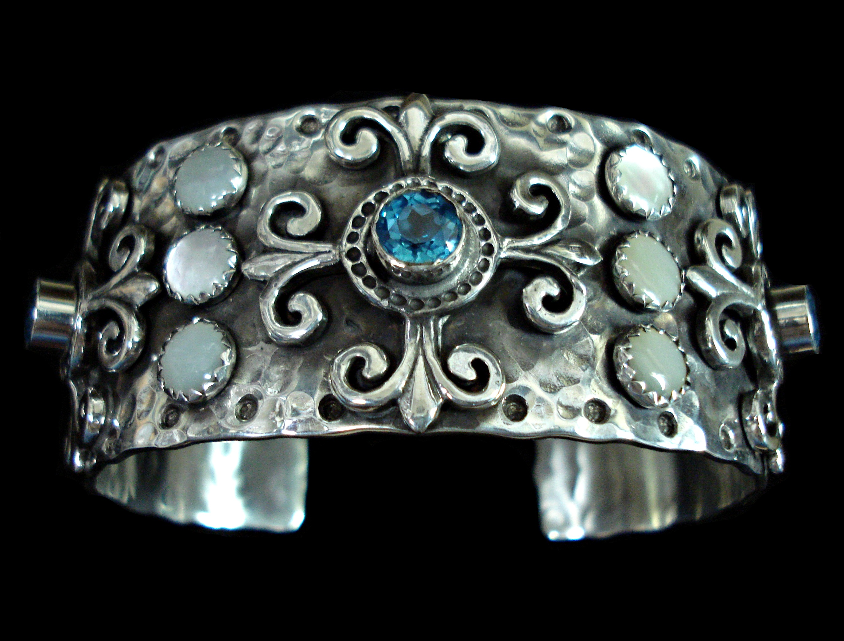 Ornate Blue Topaz Cuff