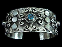 Ornate Blue Topaz Cuff