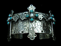 Pearl & Turquoise Cross Cuff