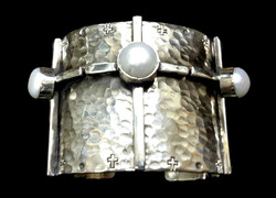 Extra Wide Cross and Pearl Cuff