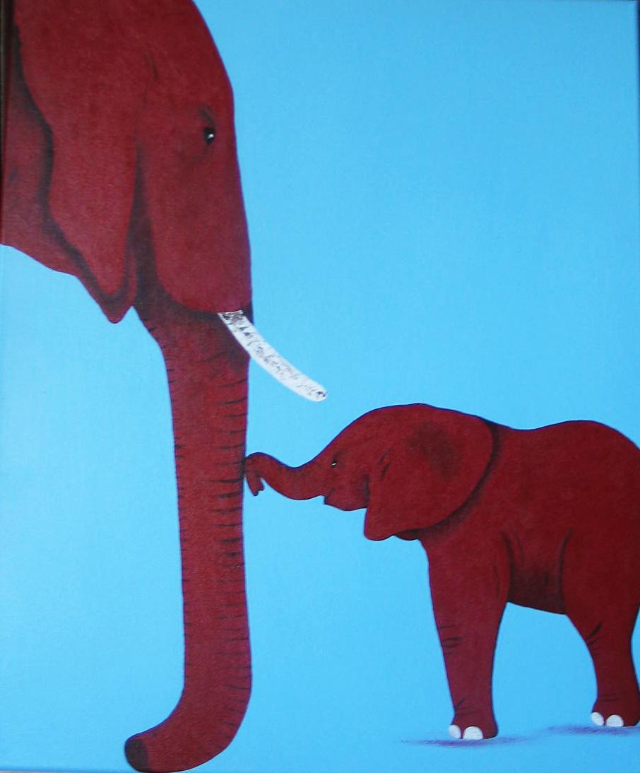 éléphants-rouge