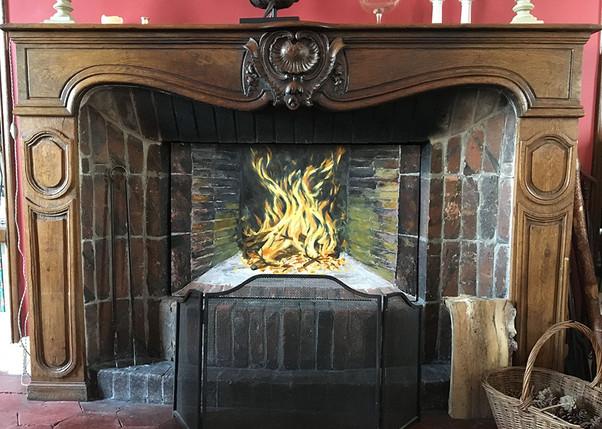 Panneau peint pour cheminée