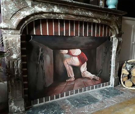 Peinture en trompe l'oeil pour cheminée