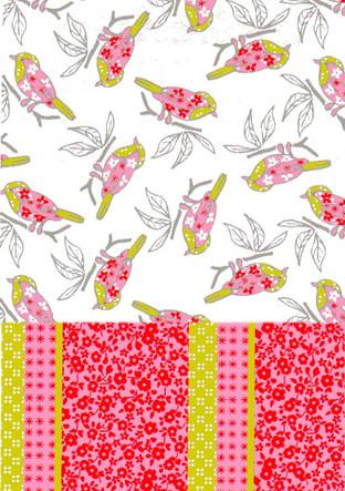 Motif Oiseaux et patchwork