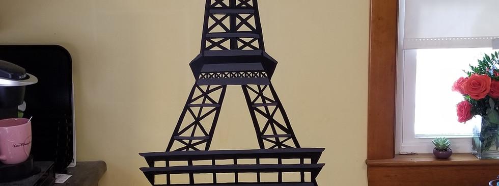 Eiffel tower in a kitchen