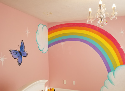 Little girls bedroom mural with glitter paint