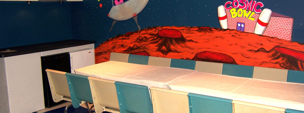 Bowling Center Party Room Blacklight Mural