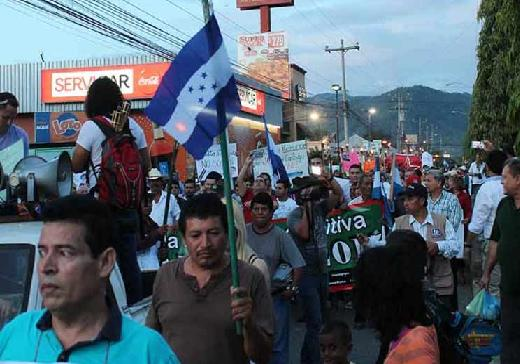 Protestors marching