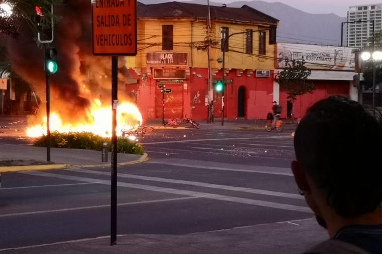 flaming barricade