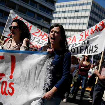 GREECE - Demonstration of teachers attacked