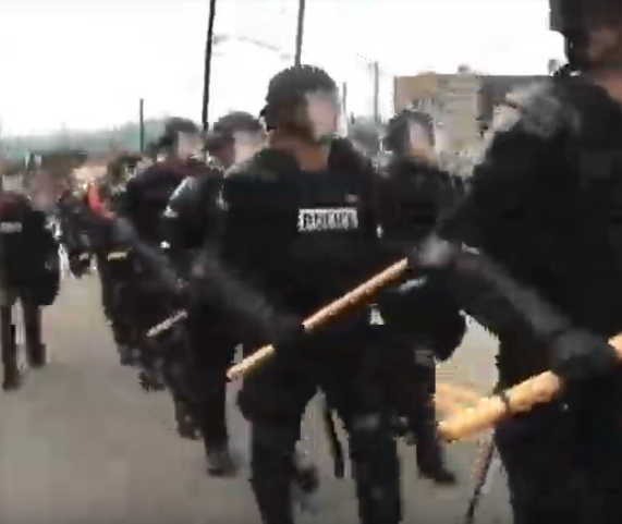 police armed with sticks
